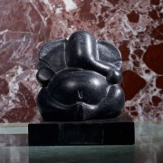 Black Marble Ganeshji Figure with Pedestal