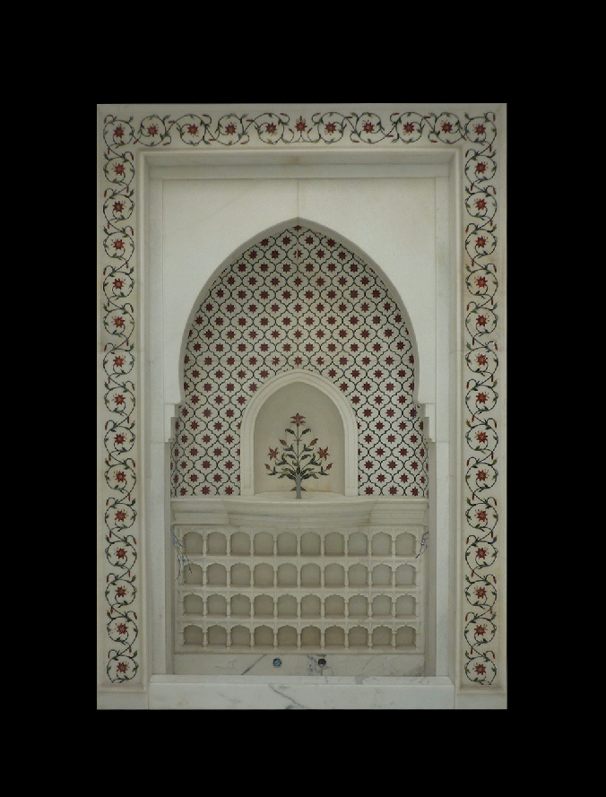 Inlaid White Marble Water Cascade